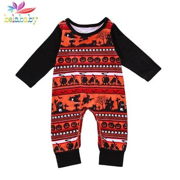 Belababy Baby Boys Girls Romper 2018 New Funny pumpkin Halloween Scene Print Jumpsuit Casual O-Neck Long Sleeve Childern Outfits
