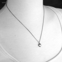 Small Heart Necklace, Sterling Silver, Darkened