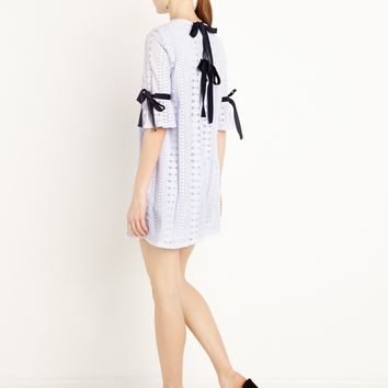 LYDIA LACE RIBBON TIE DRESS