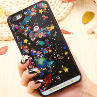 6S/Plus Transparent Hard Back Cover For Apple iphone 6 6S /For iphone 6 6S Plus 5.5 Dynamic Liquid Colorful Beads Phone Case