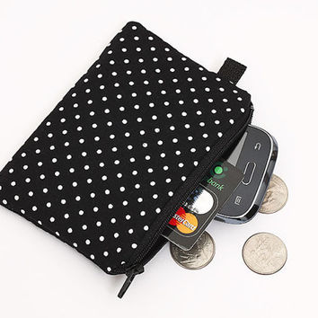 Coin purse, padded zippered pouch, womens small zip wallet, iPod nano pouch- black and white polka dots