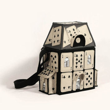 House Of Playing Cards Black Grey Purse