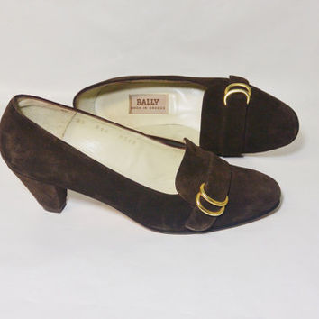 Vintage Brown Suede Bally Pumps Made In Greece Size 35