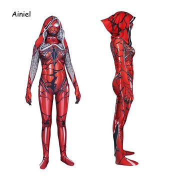 Venom Spider Man Cosplay Costume Movie Spiderman 3D Printed Hooded Red Zentai Bodysuit Halloween Party Suit For Woman Kids