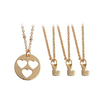 4 pcs/set Hollow Love Heart shaped Pendant Necklace for Women Mother Daughter Gold Color Stitching Necklaces Gift Family Jewelry