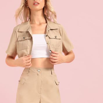Pocket Front Utility Crop Jacket & Shorts Set