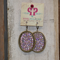Pink Panache irr. Large oval earrings