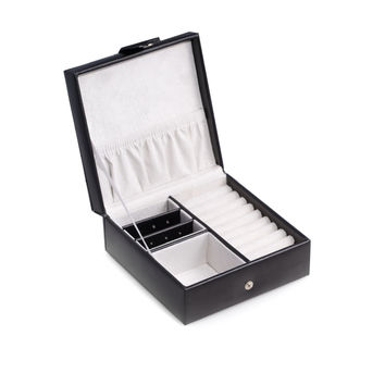 Black Leather Square Jewelry Box