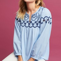 Embroidered Split-Neck Top