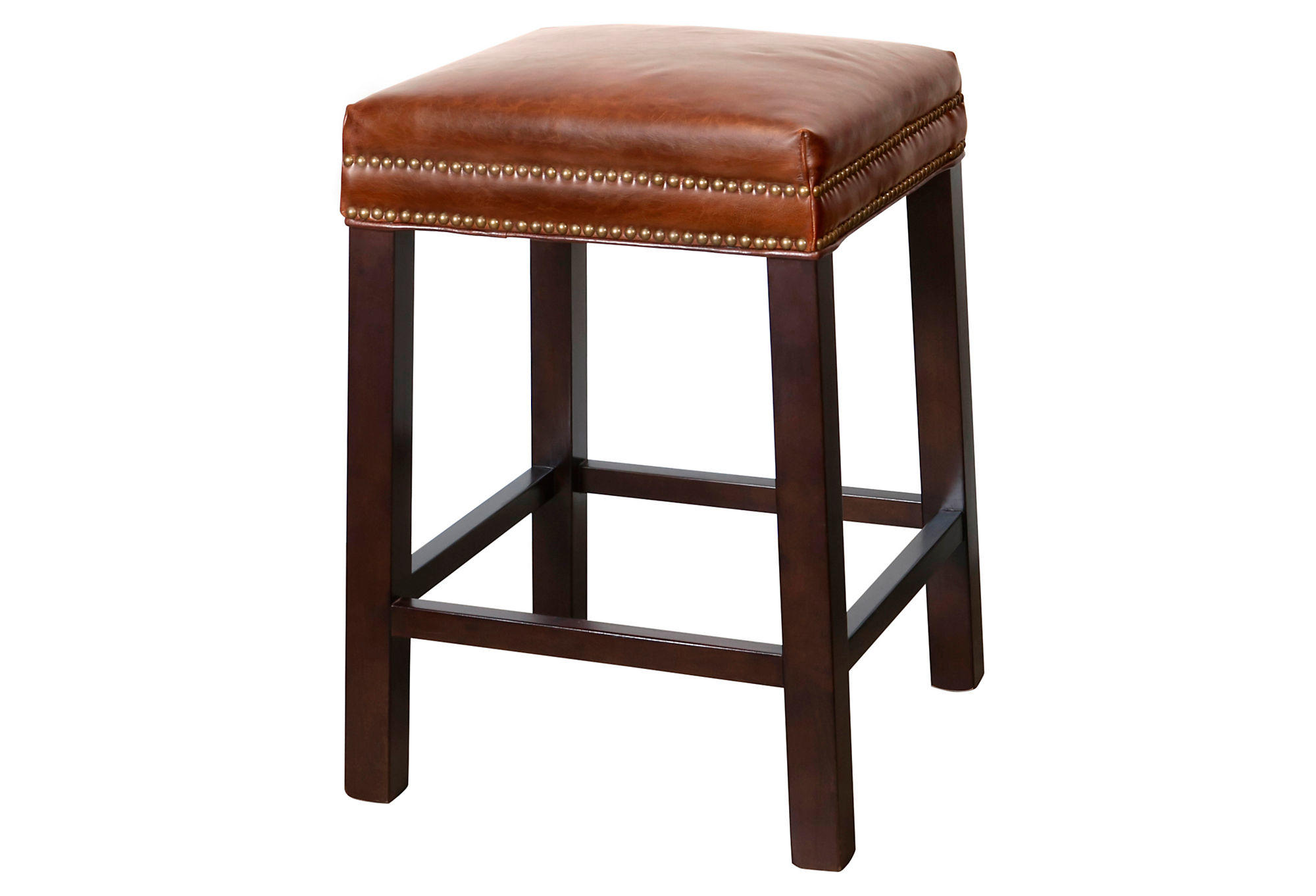 Belmont Leather Stool Saddle Brown Bar From One Kings Lane My