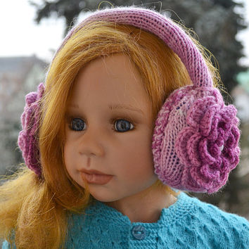 Purple Earmuff, crochet flower,winter accessories,Warm and cool,Crocheted earmuffs ,Unique design,christmas gift