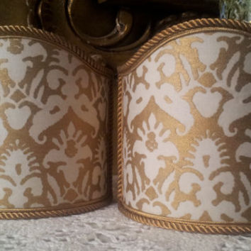 Pair of  Wall Sconce Clip-On Shield Shades Fortuny Fabric Ivory & Gold Delfino Pattern Half Lampshade - Handmade in Italy