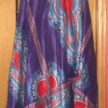 """NWOT African Long Dashiki Maxi /Pockets Ankara Elastic Waist One size fit MOST (Sz M-1X) with pockets/  African material""""/Purple  Red Skirt"""