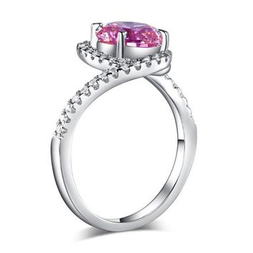 Twist Curl 925 Sterling Silver Wedding Engagement Ring 2 Ct Fancy Pink Simulated Diamond Promise Anniversary
