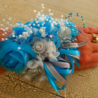 Wrist Corsage Silver-Turquoise Rose and Pearl Wedding Wrist Bouquet- Prom- Homecoming- Quinceanera Wrist Bouquet