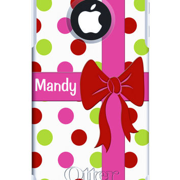 Custom OTTERBOX COMMUTER iPhone 5 5S 5C 4/4S Samsung Galaxy S3 S4 S5 Note 2 3 Case Gift Box Ribbon Pink Polka Dots Personalized Monogrammed