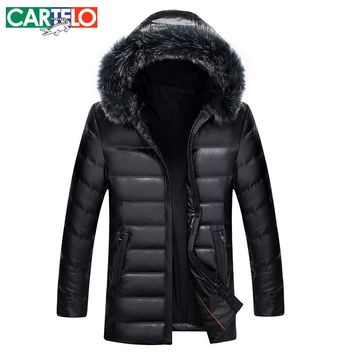 Cartelo/brand 2017 Man Leather Coat New Winter 90% White Duck Down Jackets Fox Fur Jacket For Men Long Warm Coat