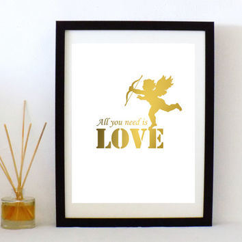 Digital Art print download,Gold Cupid print, with All you need is love quote,Digital art , wall decor,Cupid print, home decor or gift