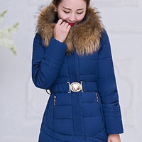 Blue Long Sleeves Fur Hooded Coat