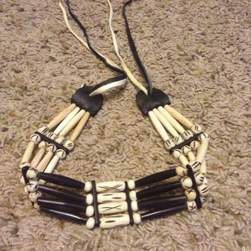 Native choker  bone and buffalo horn