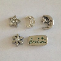 Floating charms for living memory lockets star with crystals, moon with crystals, moon with star, snowflake, green dream