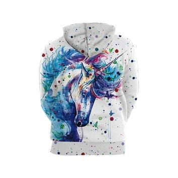 Colorful Magical Unicorn 3D Hoodie Pullover Sweatshirt - Printed Animal Horse Lovers Clothing