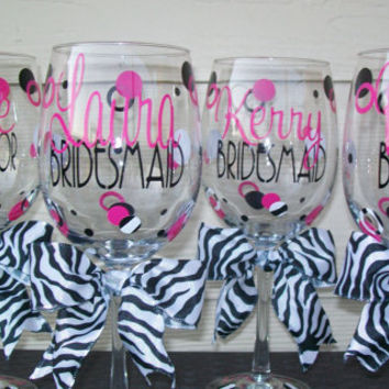 Personalized Wedding/Bachelorette Party Wine Glass-Zebra Black, White and Hot Pink