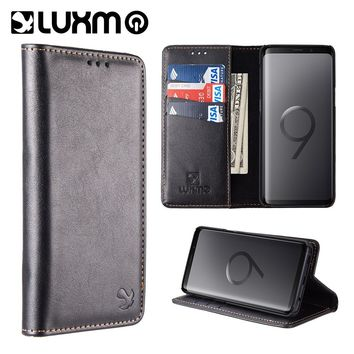 LUXMO Luxury PU Leather Case for Samsung Galaxy S9 S9 Plus Gentleman Magnetic Filp Leather Wallet Case Capa Back Cover Phone Bag
