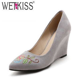 WETKISS New Arrival Vintage Embroider Shoes Woman Wedges Pumps Pointed toe Shallow Flo