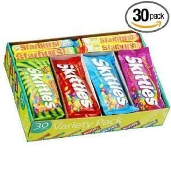 Skittles and Starburst, Fruity Candy, Variety Box (30 Count)
