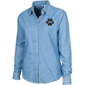 Paw Print Women's Embroidered Long Sleeve Denim Shirt