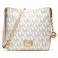 Michael Kors 30T2GTVM3B-150 Women's Jet Set Large Vanilla PVC MK Monogram Travel Messenger Bag