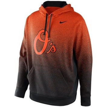 Nike Baltimore Orioles Mezzo Fade Performance Hoodie - Orange/Black