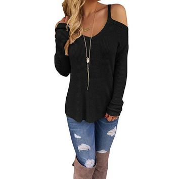 Fiona Cold Shoulder Ribbed Cotton Knit Sweater