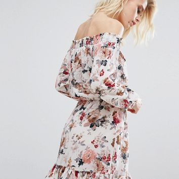 Boohoo Floral Bardot Dress at asos.com
