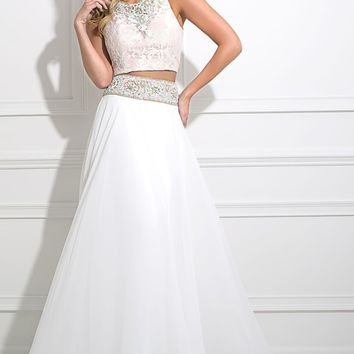 Tony Bowls White 2 Piece Prom Dress