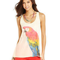 Dolled Up Juniors Top, Sleeveless Parrot-Print Tank - Juniors Tops - Macy's