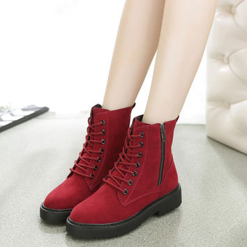 Womens Urban Trendy Lace-Up Casual Boots