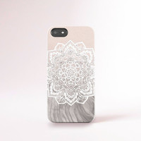 Mandala on Wood iPhone Case iPhone 6 Case Wood Print Lace iPhone 6 Plus Case iPhone 5 Case Wood Galaxy S5 Case Cream Lace iPhone Cover Ombre