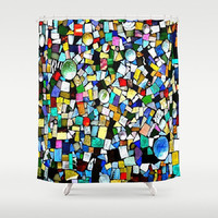 Stained Glass, Mosaic, Mixed Media - Decorative Shower Curtain-Machine Washable - Decor, Gift, New Home or Apartment - Made To Order-TMW1#73