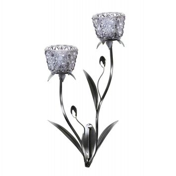 Glass Blooms Candle Wall Sconce