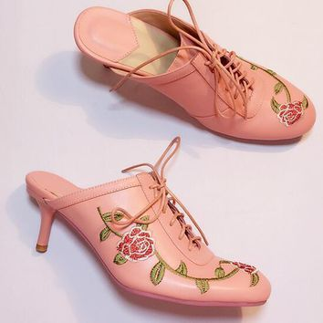 Fashion Women Embroidery Floral Lace Up Stilettos Slippers Leather Heel Shoes