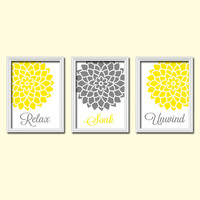 Shower Curtain Bathroom Wall Art Canvas Artwork Yellow Gray  Relax Soak Unwind Dahlia Flower  Set of 3  Prints  Decor  Match Three