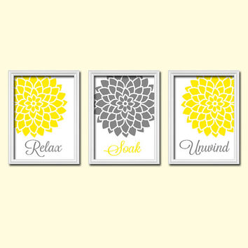 shop gray and yellow bathroom wall art on wanelo. Black Bedroom Furniture Sets. Home Design Ideas