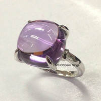 Cushion Amethyst Engagement Ring 14K White Gold Solitaire 12mm