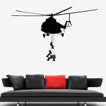 Vinyl Wall Decal Military Helicopter Army Soldiers Special Forces Stickers Unique Gift (1950ig)