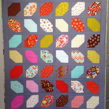 Modern Jewel Baby, Lap, or Wall Hanging Quilt with Birds, Butterflies, Leaves, Flowers and Chevrons