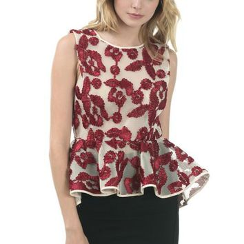 Embroider With Mesh Peplum Top