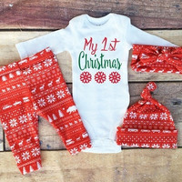 Newborn Infant Baby Boy Girl Clothes Romper Tops+Long Pants+Hat Outfits Xmas Set [8322978113]