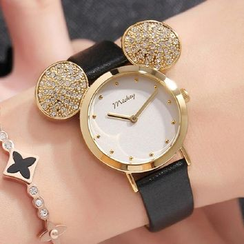 2018 New Disney Watch Women Cute Mickey Mouse Gold Girls Watches Fashion Casual Rhinestone Waterproof Leather Luxury Hot